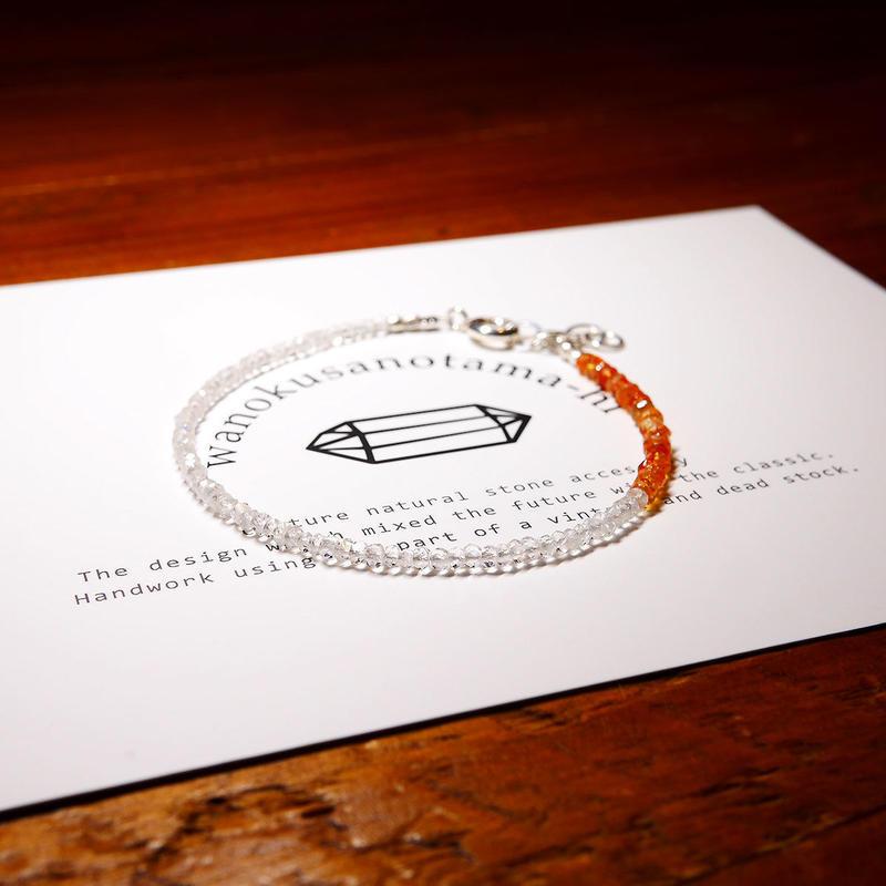 レインボームーンストーン・オレンジサファイア  ブレスレット  18cm