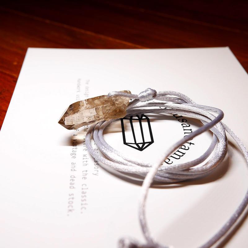ガウリシャンカール産ヒマラヤ水晶(クリア・ライトスモーキー)サテンコードネックレス A