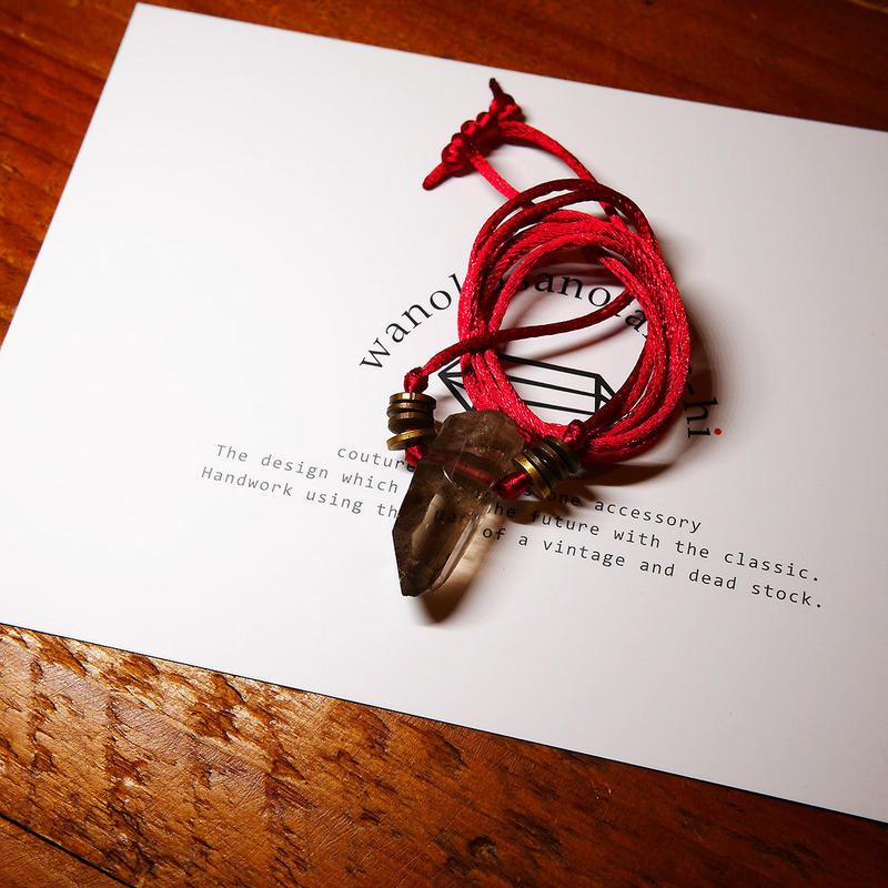 ガウリシャンカール産ヒマラヤ水晶(スモーキー)真鍮パーツネックレス E