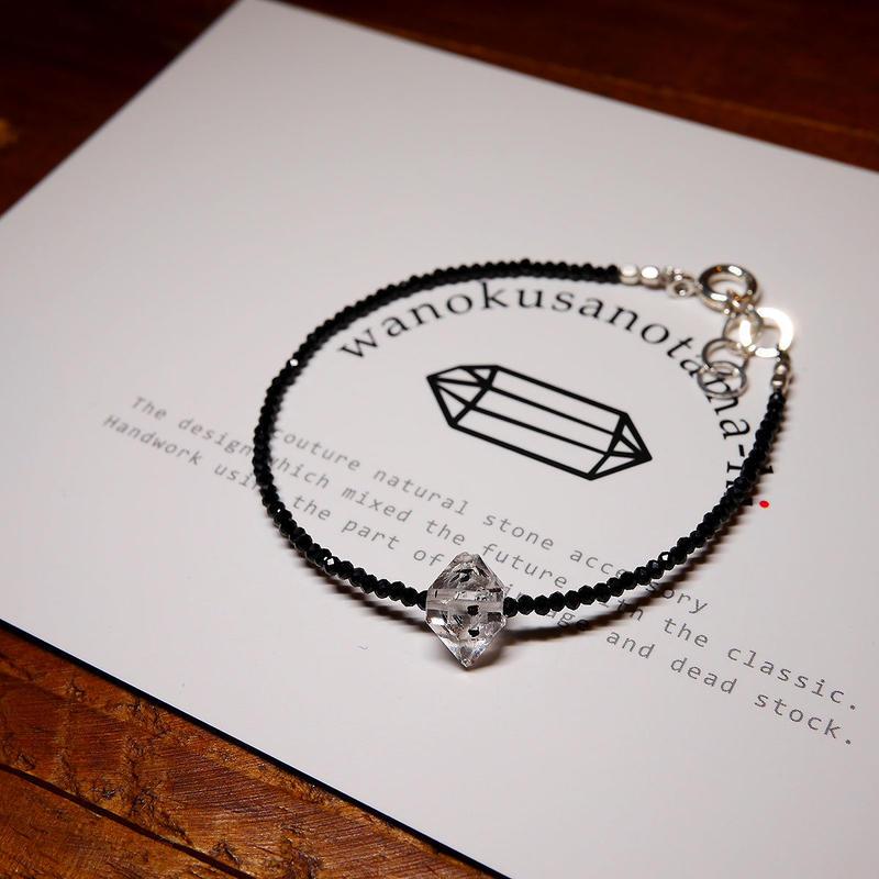 ブラックスピネル・ダブルポイント水晶 ブレスレット 18cm