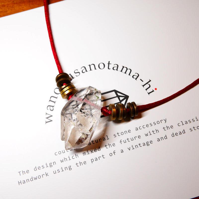 ガネーシュヒマール産ヒマラヤ水晶 真鍮パーツネックレス SRA