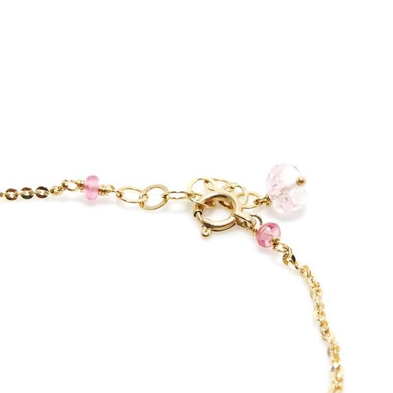 モルガナイト・ピンクサファイアの華奢なブレスレット K10