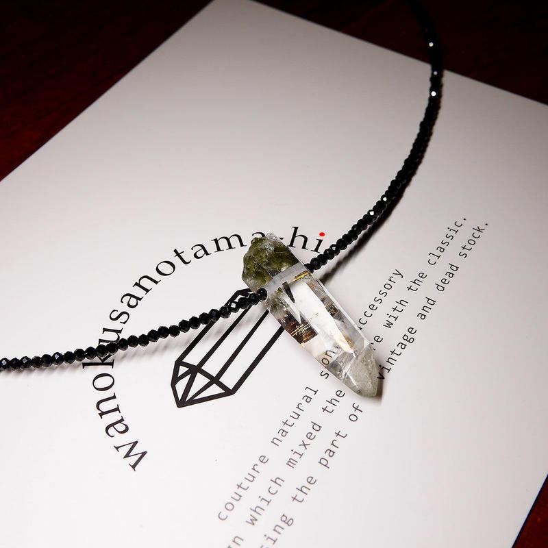 ガネーシュヒマール産ヒマラヤ水晶・ブラックスピネル ネックレス