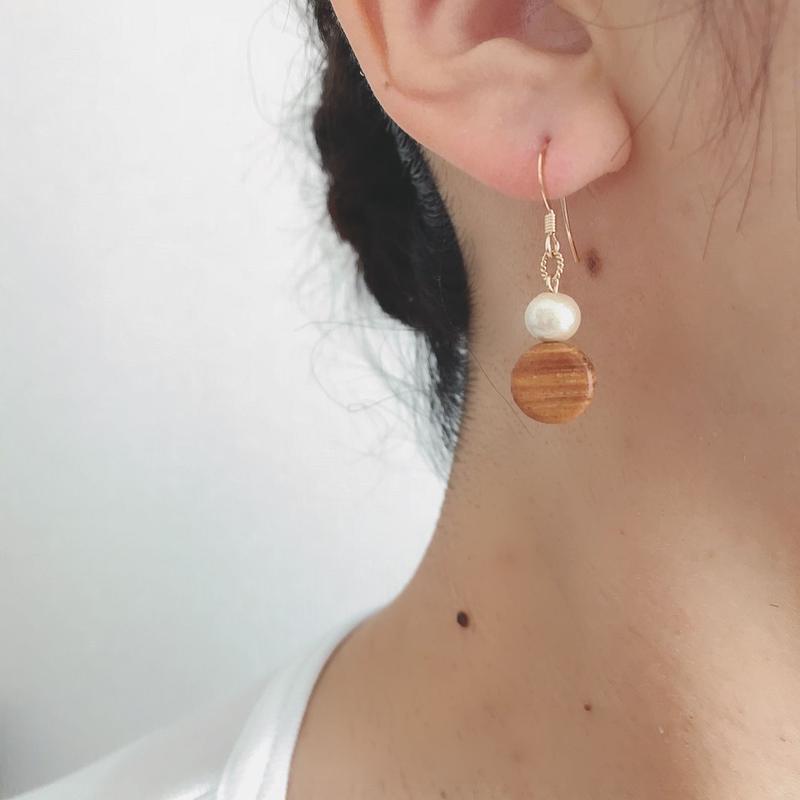 14kgf/cotton pearl & natural wood 【pierce】