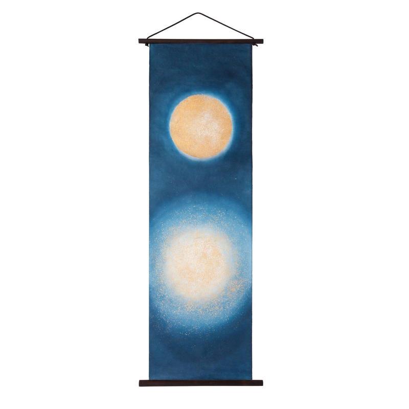 創作和紙インテリアタペストリー「紙禅」~Shi-Zen和モダン水月~Water Moon /染め・金箔