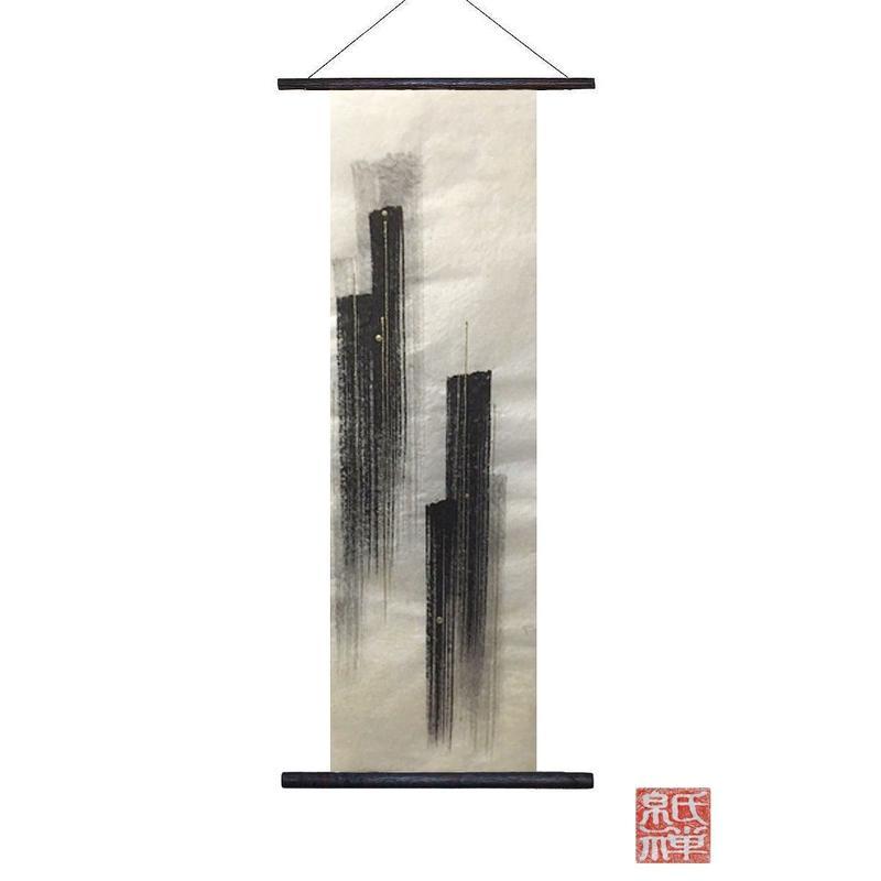 創作和紙インテリアタペストリー「紙禅」~Shi-Zen/和モダン墨デザイン23