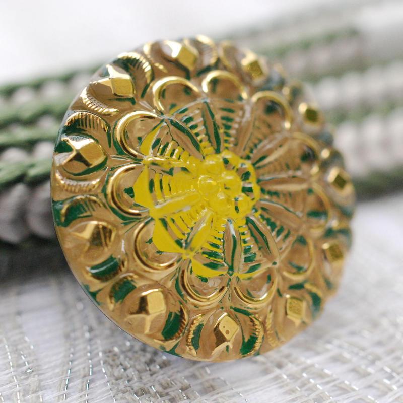 レトロボタンデザインの帯留(レモングリーン)