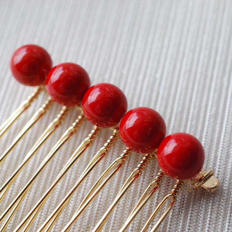 艶赤のシンプルな玉コーム(5玉)