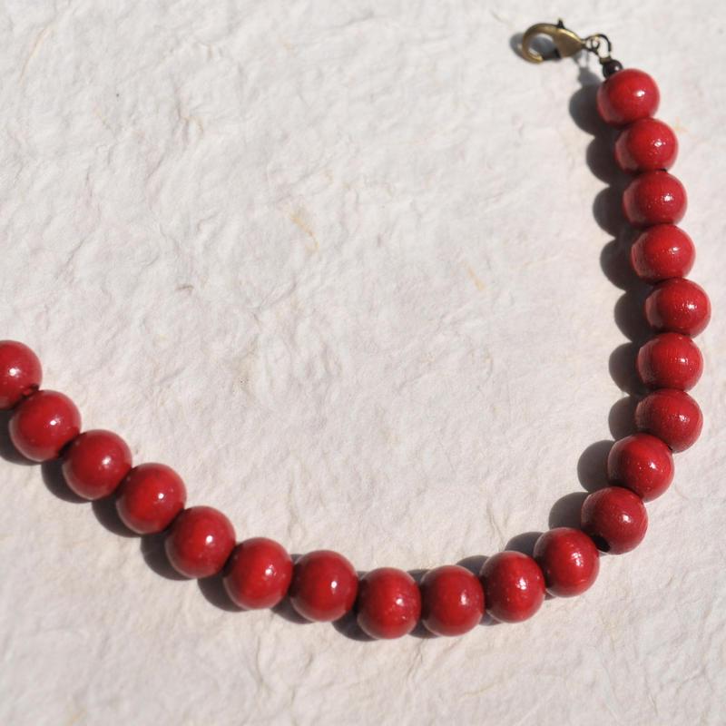 【男性】ウッドビーズの羽織紐(赤)