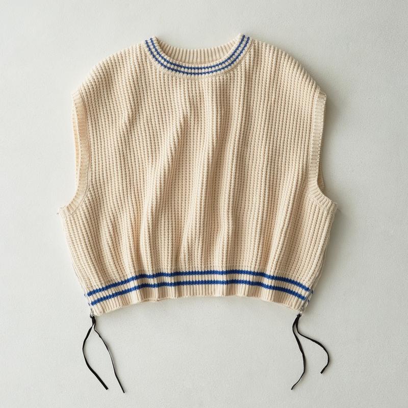 Side Zip Over Size Knit  Vest (Beige)