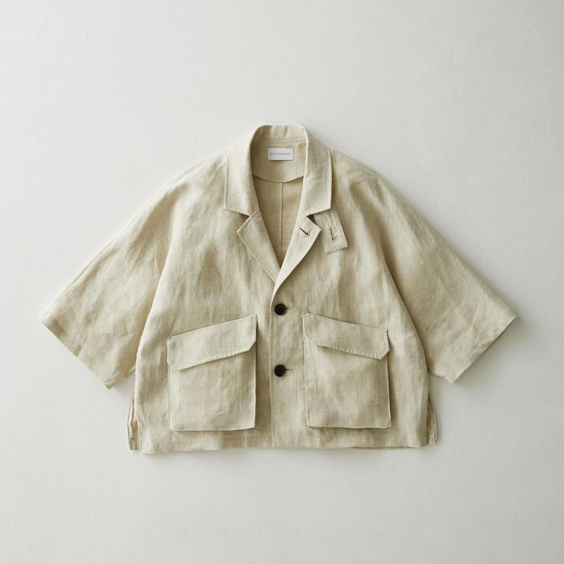 Linen dolman half sleeve jacket(Natural)