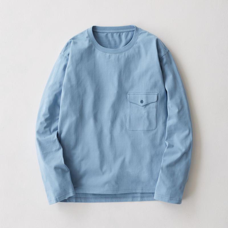 Flap Pocket Long Sleeve Tee(Sax Blue)