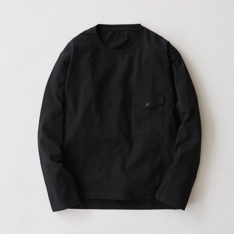 Flap Pocket Long Sleeve Tee(Black)