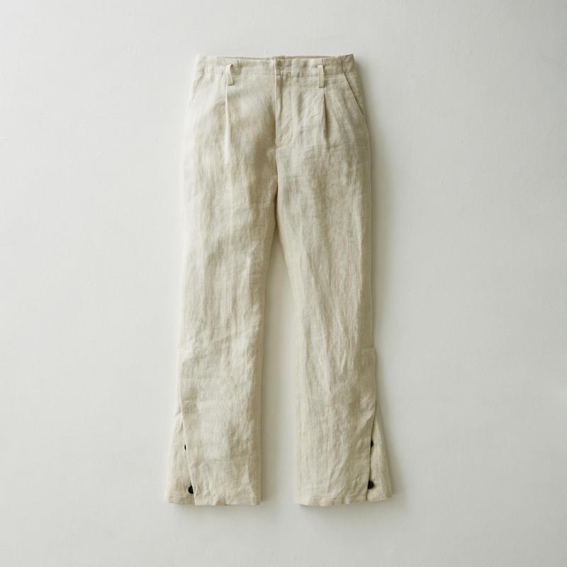 Linen flare slit pants(Natural)