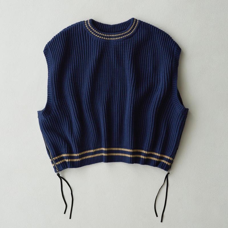 Side Zip Over Size Knit  Vest(Navy)
