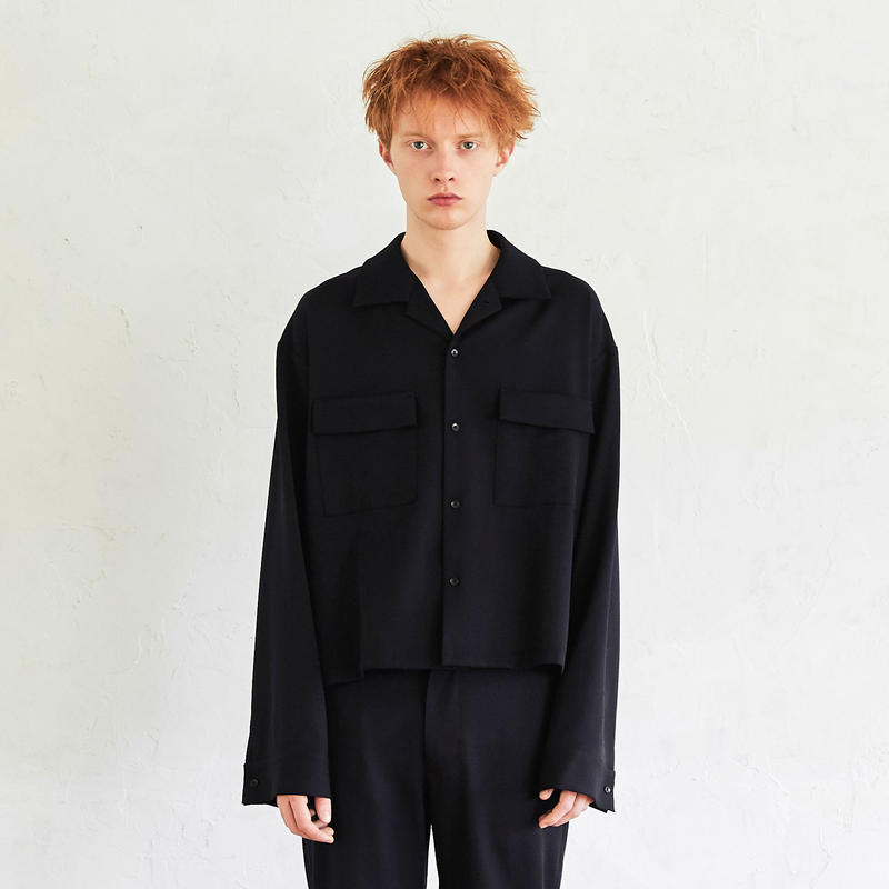 Wide Sleeve Open Collar Shirt (Navy)