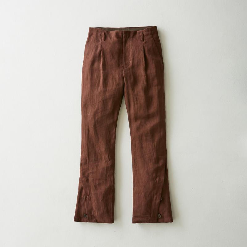 Linen flare slit pants(Brown)
