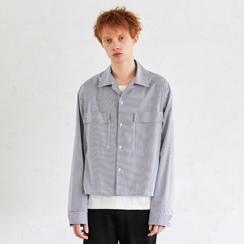 Wide Sleeve Open Collar Shirt (Stripe)