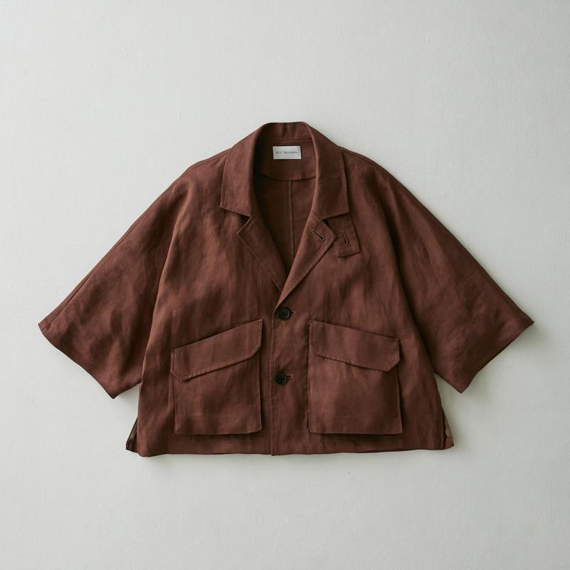 Linen dolman half sleeve jacket(Brown)
