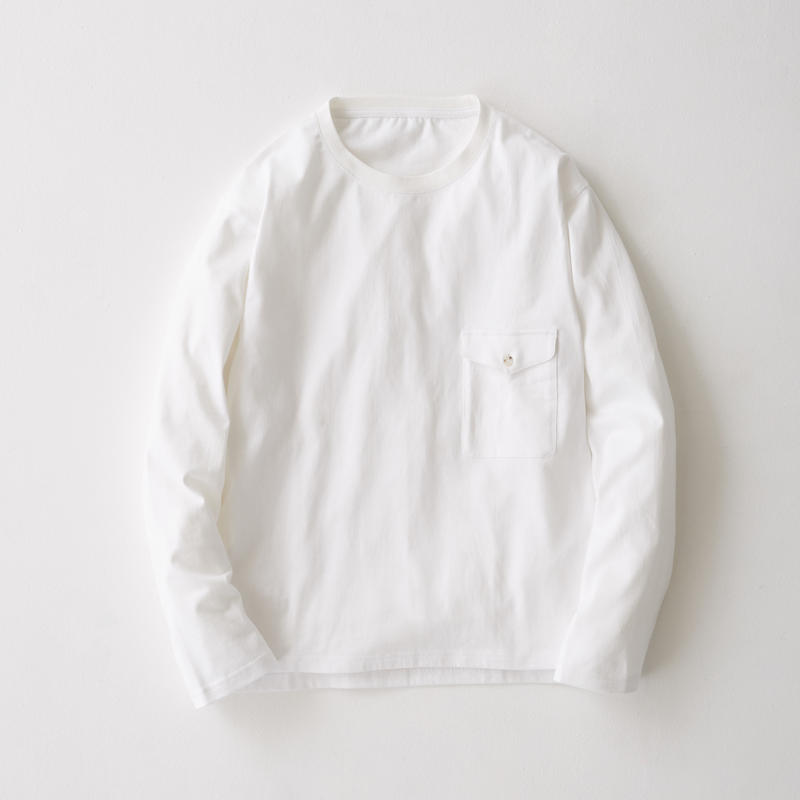 Flap Pocket Long Sleeve Tee(White)