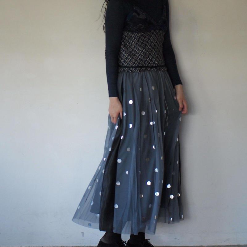 【Standard】Rubber long skirt(silverdots)
