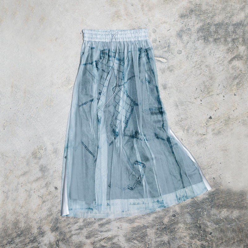 【new】Pleated long skirt(blue denim)