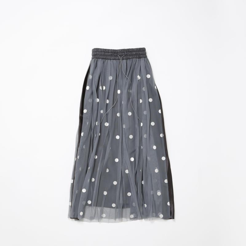 【Standard】Rubber long skirt(gray×silver dots)