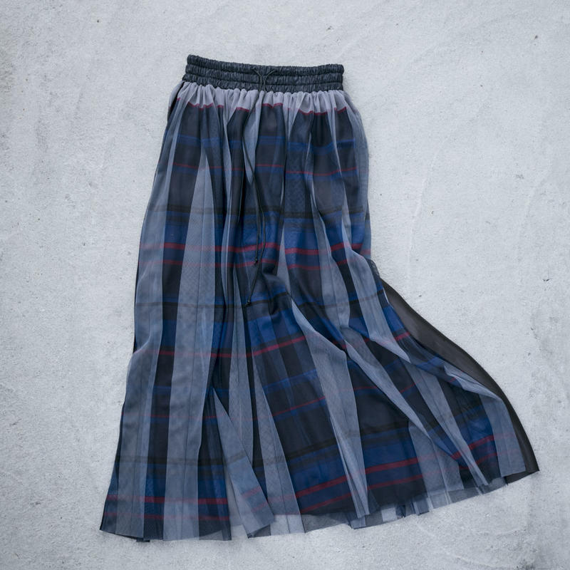 【Standard】Pleated long skirt(navy)