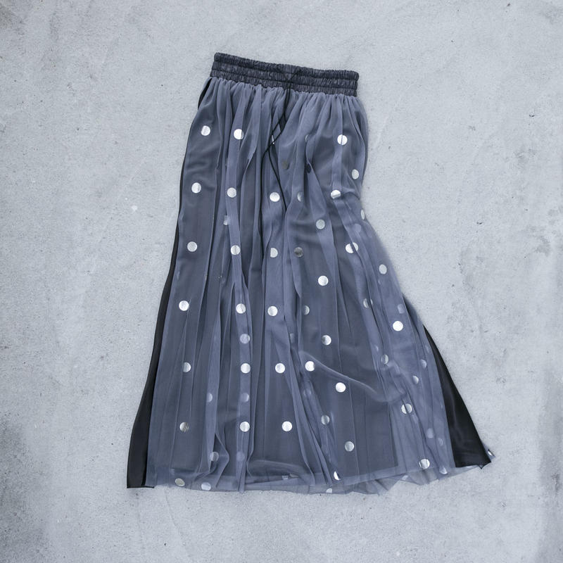 【Standard】Rubber long skirt(silverdots)