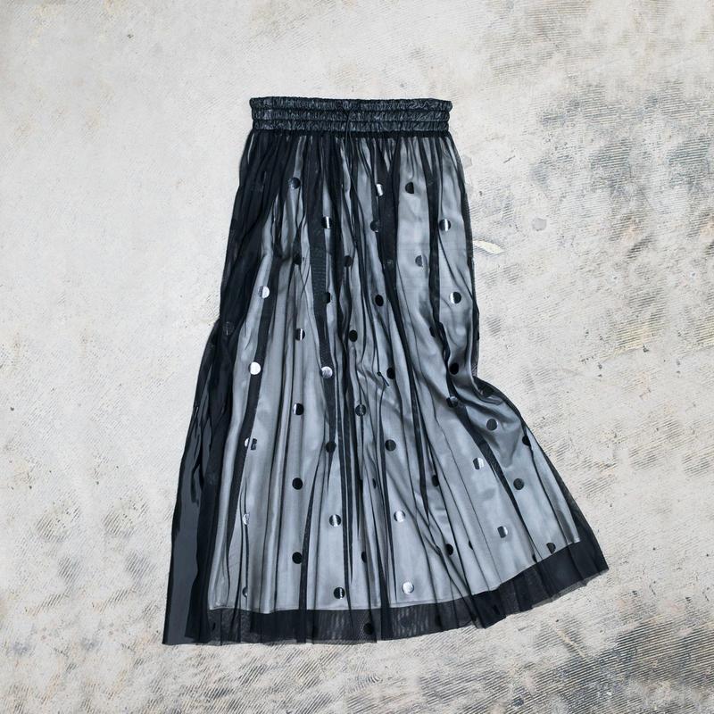 【Standard】Rubber long skirt(blackdots)