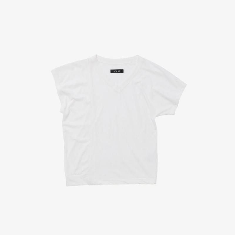 アシンメトリーミニTシャツ(white)