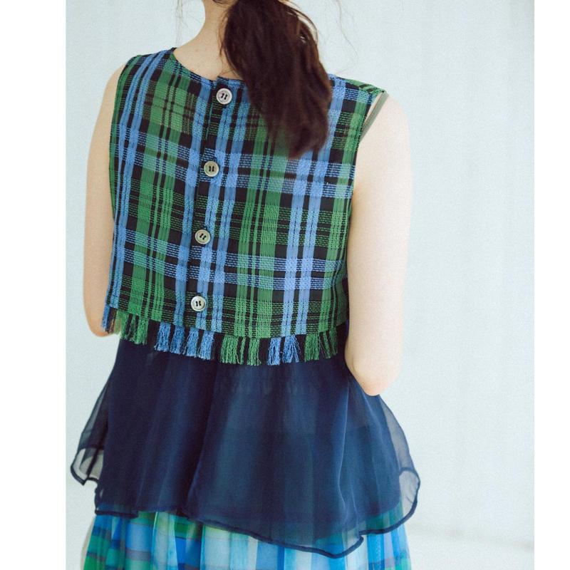 Check pattern・Sleeveless blouse(green)