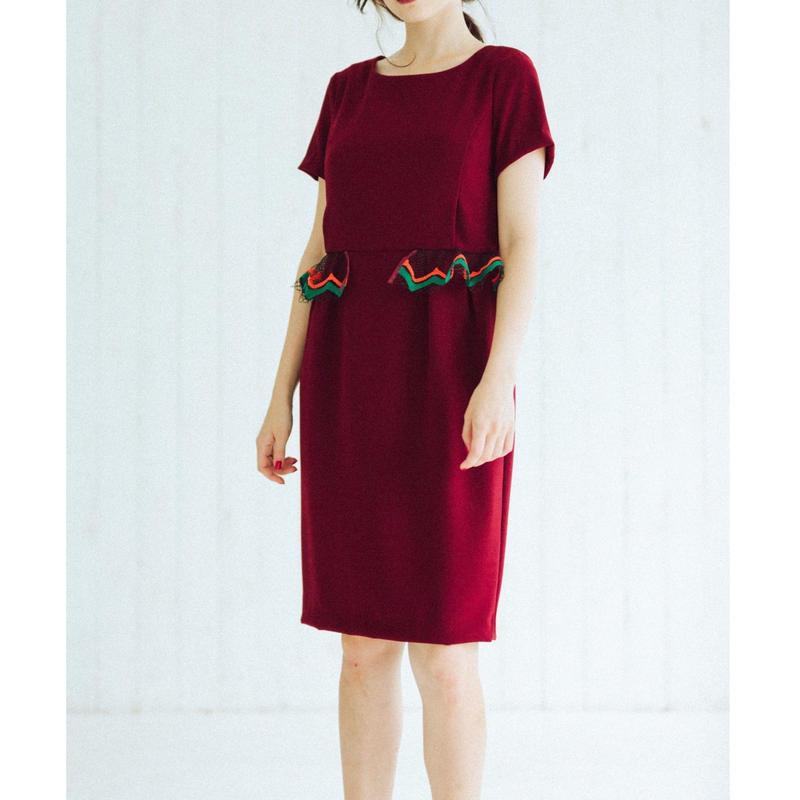 Peplum dress(wine red)