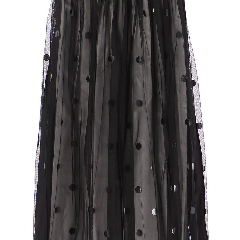 【Standard】Rubber long skirt(blackdots)