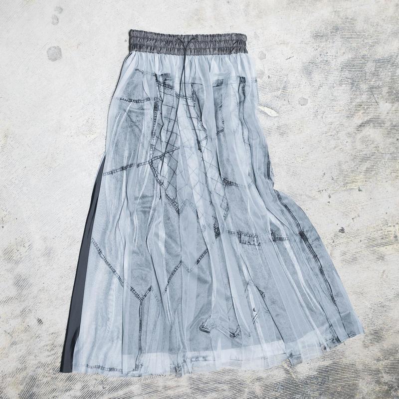 【new】Pleated long skirt(black denim)