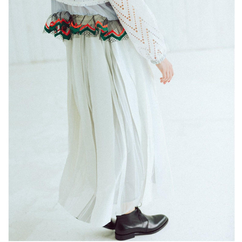 【Standard】Rubber long skirt(white)