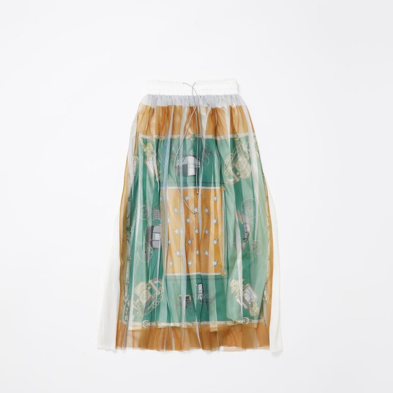 【new】Pleated l skirt(green orange skirf)74cm丈