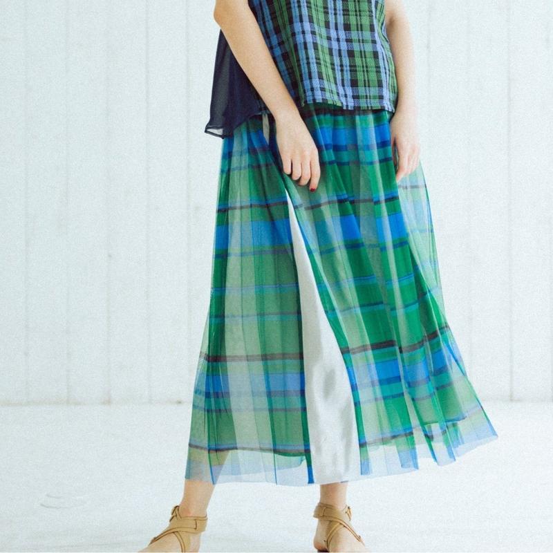 【Standard】Pleated long skirt(green)