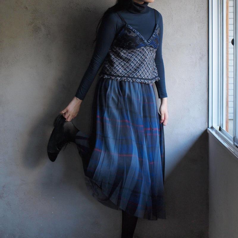 【Standard】Pleated long skirt(navy)