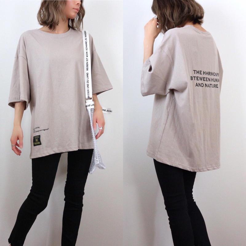 レタードプリントBIG Tシャツ【L.BEIGE】