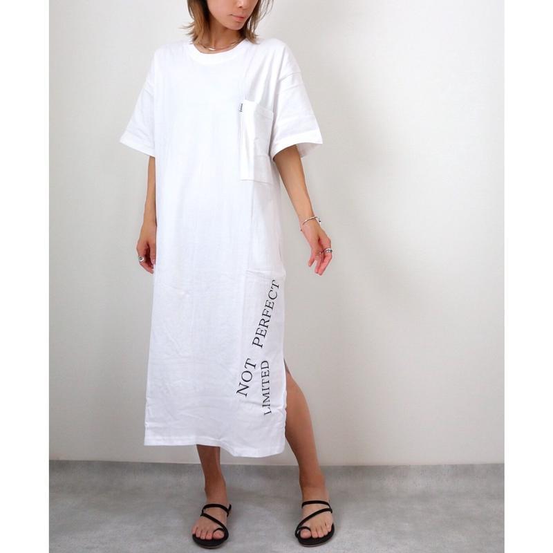英字刺繍Tシャツワンピース