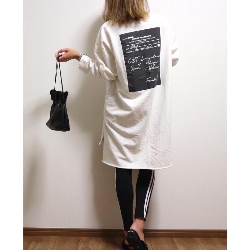 バックプリントカットオフチュニック【WHITE】