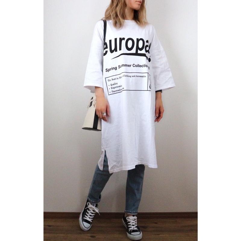europaプリントTシャツワンピース【WHITE】