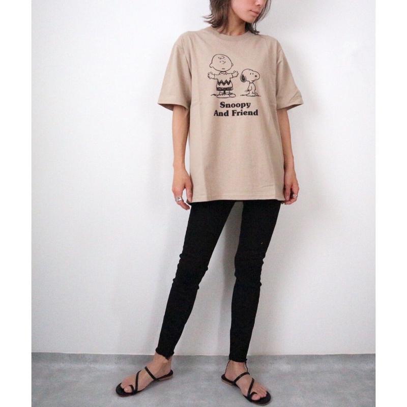 SNOOPYプリントTシャツ【BEIGE】