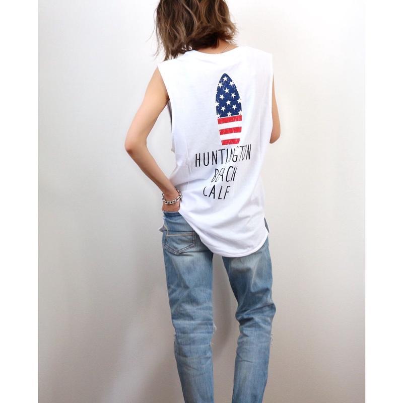星条旗サーフボードタンクトップ【WHITE】