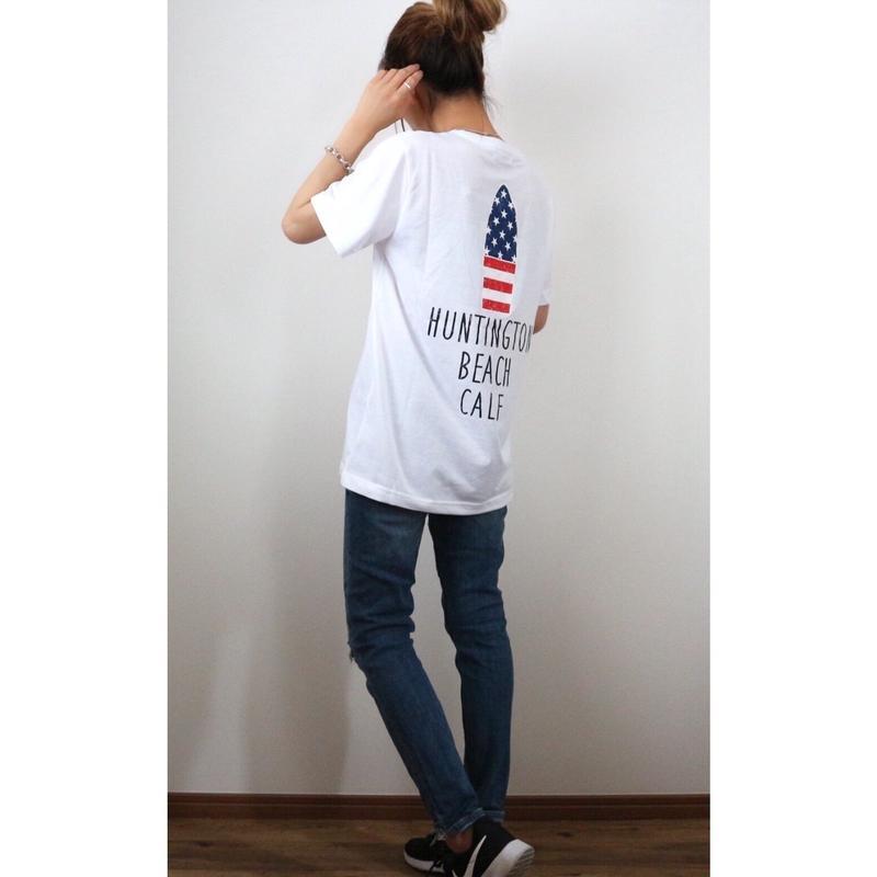 星条旗サーフボードTシャツ【WHITE】