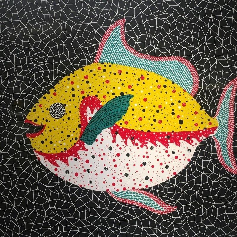 草間彌生 お魚  リトグラフ版画 (#250)