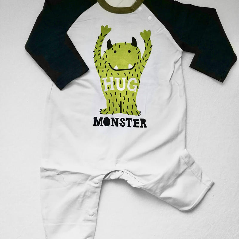 """HUG monster""Long sleeve baby rompers / ハグモンスターロンパース"