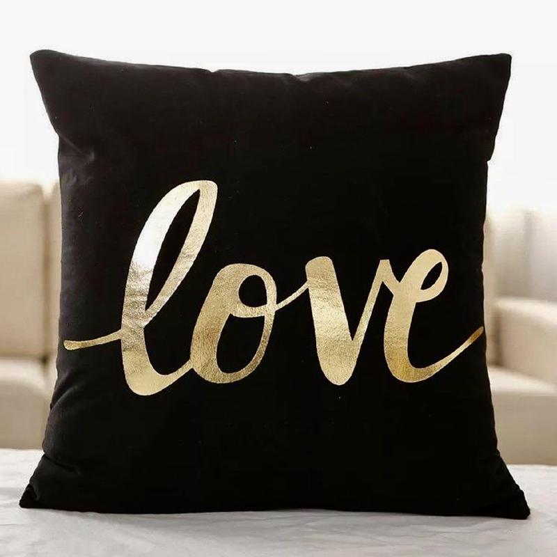 "Gold ""love"" print pillow cover / 「love」メタリックプリントクッションカバー"