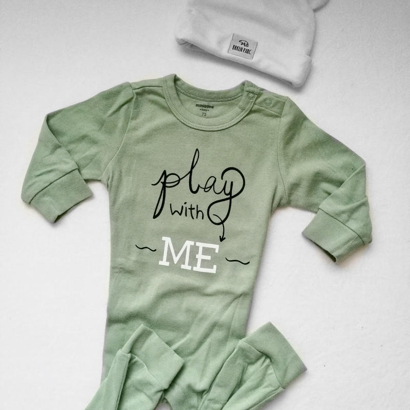 """Play with me""Long sleeve baby rompers / ""遊んでー!""長袖ロンパース グリーン"